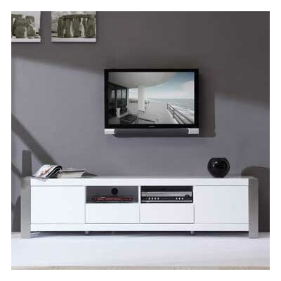 Composer 79 TV Stand Color: White High Gloss and Brushed Stainless Steel