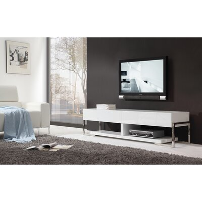 Agent TV Stand Color: White Glass