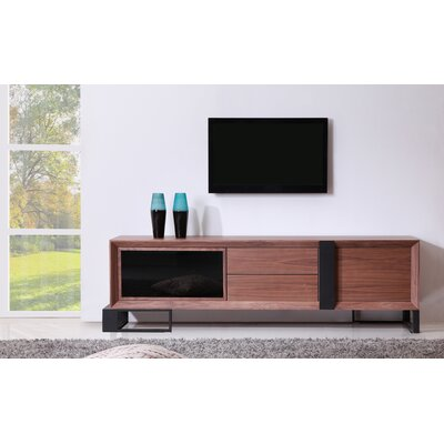 Entertainer 81.3 TV Stand Color: Walnut & Black Steel