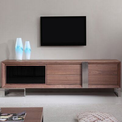 Entertainer 81.3 TV Stand Color: Walnut & Stainless Steel
