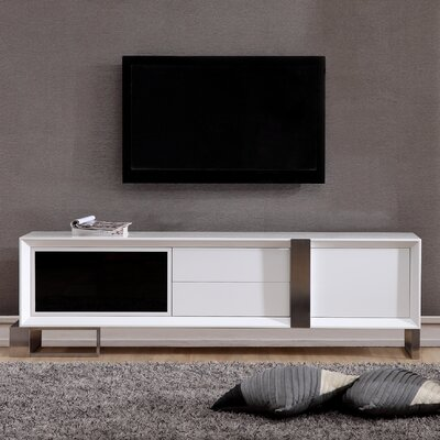 Entertainer 81.3 TV Stand Color: White & Stainless Steel