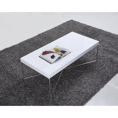 Mixer Coffee Table Top Color: White, Base Color: Stainless Steel