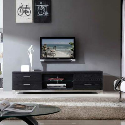 Promoter TV Stand Finish: Black Oak and Polished Stainless Steel