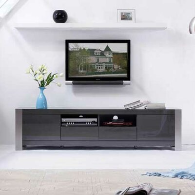 Composer TV Stand Finish: Gray High Gloss and Brushed Stainless Steel
