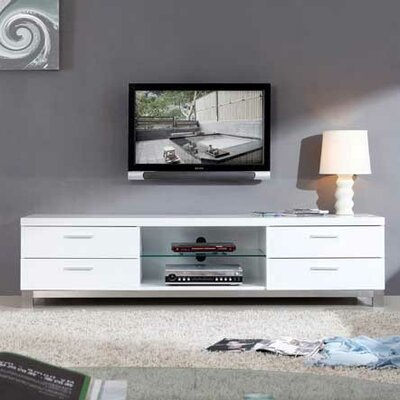 Promoter 79 TV Stand Color: White High Gloss and Brushed Stainless Steel