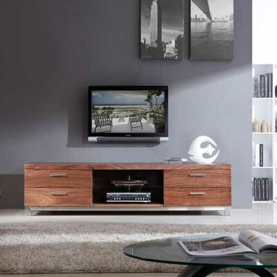 Promoter TV Stand Finish: Light Walnut and Polished Stainless Steel