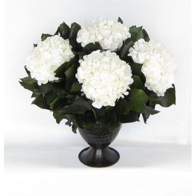 Metal Trophy Small Vase With Hydrangea Color: White