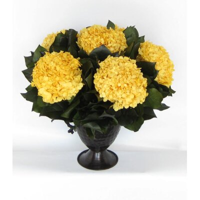 Metal Trophy Small Vase With Hydrangea Color: Yellow