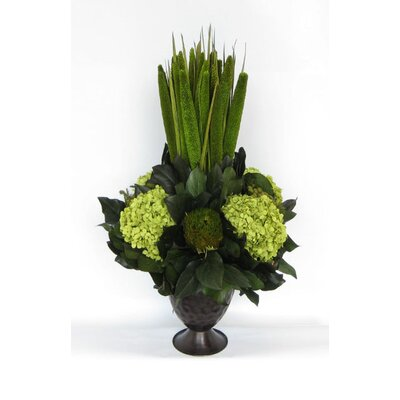 Metal Trophy Small Vase With Pensularia, Banksia And Hydrangea Color: Basil