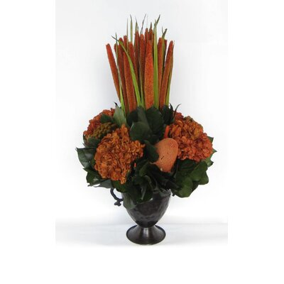 Metal Trophy Small Vase With Pensularia, Banksia And Hydrangea Color: Rust Brown