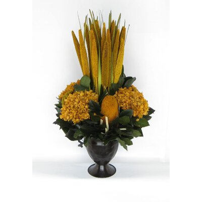 Metal Trophy Small Vase With Pensularia, Banksia And Hydrangea Color: Gold