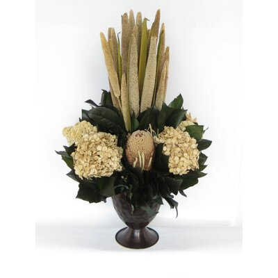 Metal Trophy Small Vase With Pensularia, Banksia And Hydrangea Color: Ivory