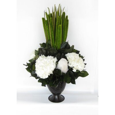 Metal Trophy Small Vase With Pensularia, Banksia And Hydrangea Color: White