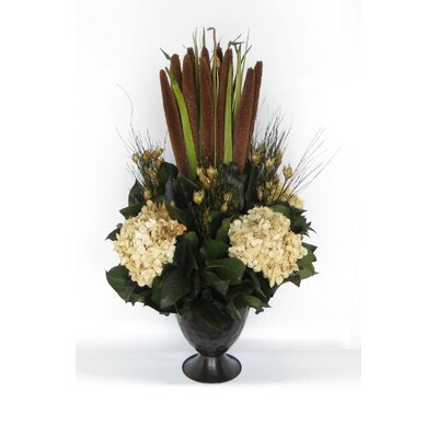 Metal Trophy Small Vase With Pensularia, Bell Reed And Hydrangea
