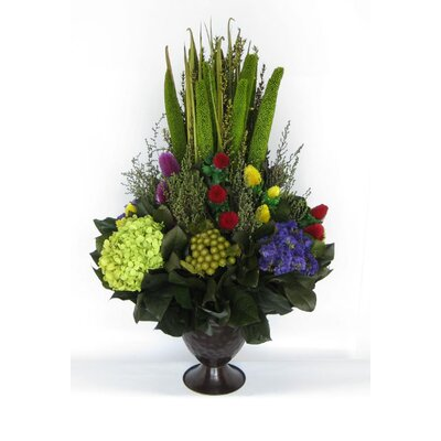 Metal Trophy Small Vase With Pensularia, Clover And Phylica And Hydrangea