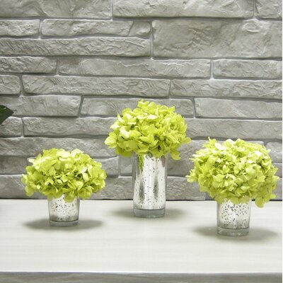 3 Piece Hydrangea Floral Arrangements In Mercury Glass Votive Set Flower Color: Basil