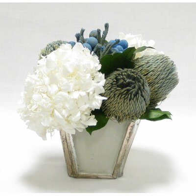 Mixed Floral Arrangement in Vase Flower Color: Blue/White WXSP-GS-BBLHDW