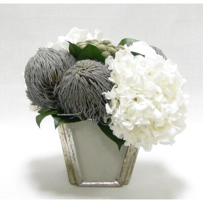 Mixed Floral Arrangement in Vase Flower Color: Gray/White WXSP-GS-RBKBRHDW