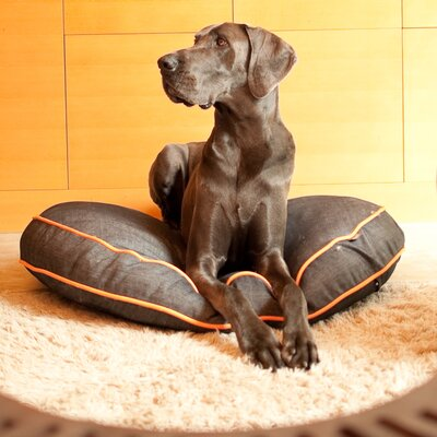 Signature Urban Denim Round Dog Pillow Size: Medium (36 H x 36 W), Color: Medieval Blue / Mandarin
