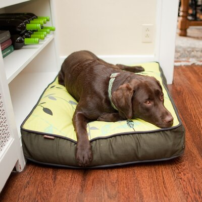 Backyard Greenery Rectangular Dog Pillow Size: Large (42 L x 31 W), Color: Pear / Rifle Green