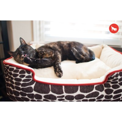Original Kalahari Lounge Pet Bed Size: Large (38 W x 30 D), Color: Brown Giraffe / Sangria