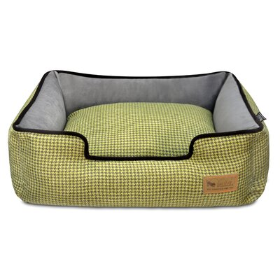 Houndstooth Lounge Dog Bed Size: Large (38 L x 30 W), Color: Yellow/Brown
