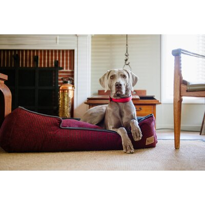 Houndstooth Lounge Dog Bed Size: Small (24 L x 19 W), Color: Red/Black