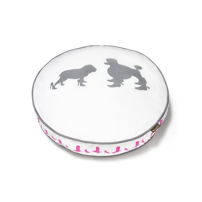 Cosmopolitan Heels and Boots Round Dog Pillow Size: Small (27.5 L x 27.5 W), Color: White / Ash Grey