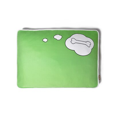Utopian What Dogs Dream Rectangular Pet Bed Size: Small (28 W x 20 D), Color: Lawn Green / White