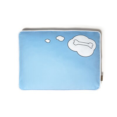Utopian What Dogs Dream Rectangular Pet Bed Size: Small (28 W x 20 D), Color: Sky Blue Light / White