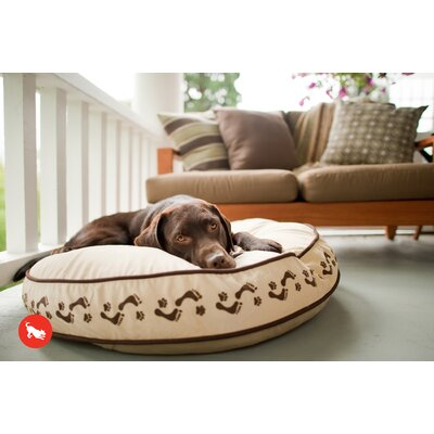 Utopian Footprints Round Dog Pillow Size: Small (27.5 L x 27.5 W), Color: Khaki / Chocolate