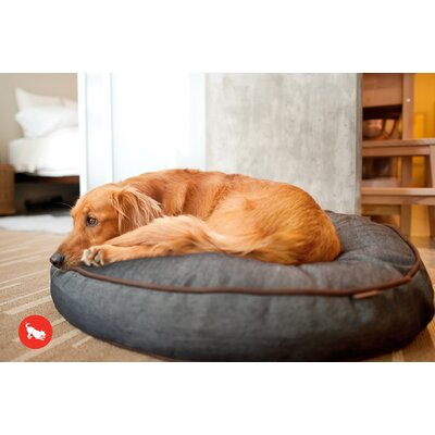 Signature Urban Denim Round Dog Pillow Size: Medium (36 H x 36 W), Color: Medieval Blue / Dark Chocolate