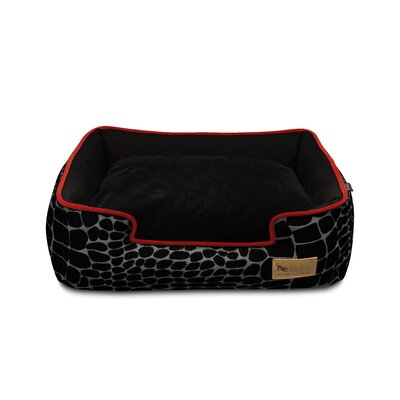 Original Kalahari Lounge Pet Bed Size: Medium (31 W x 25 D), Color: Black Giraffe / Sangria