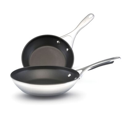 Gourmet Stainless Steel Twin 8.5 And 10 Nonstick Skillet