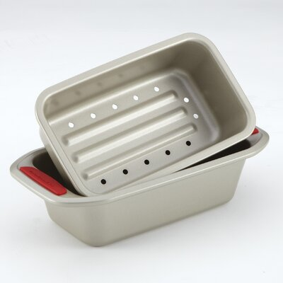 Gourmet Bakeware 2 Piece Meatloaf Pan Set with Silicone Grips