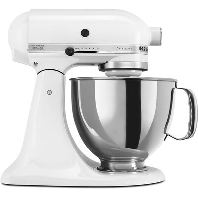 KitchenAid Artisan Series 5 Qt. Stand Mixer with Stainless Steel & Glass Bowls - Color: White