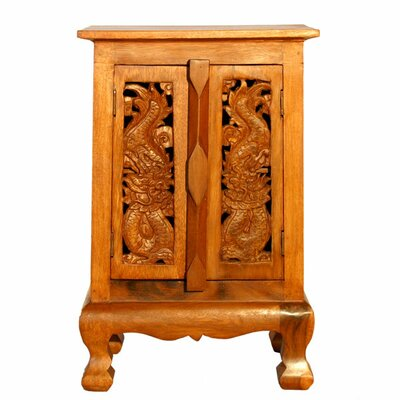 Handmade 24 Oriental Dragons Storage Cabinet / Nightstand - Natural Finish