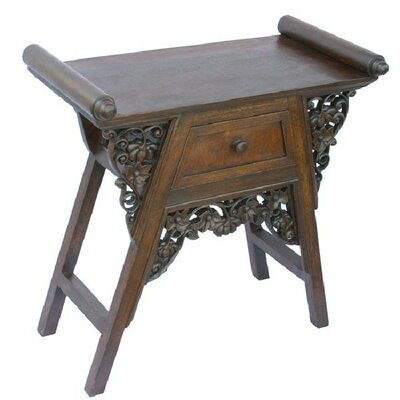 Handmade 26 Carved Teak Wood & Rattan End Table / Nightstand With Dark Finish