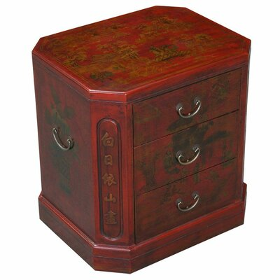 Handmade Oriental Antique End Table Finish: Distressed Red