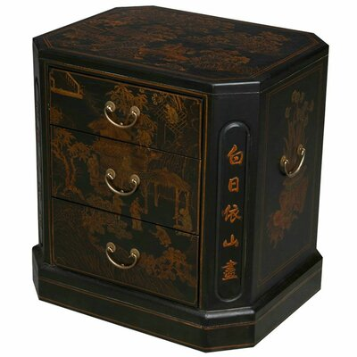 Handmade Oriental Antique End Table Finish: Distressed Black