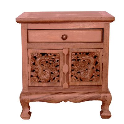 Handmade 22 Oriental Dragons Acacia Storage Cabinet / Nightstand - Natural Finish