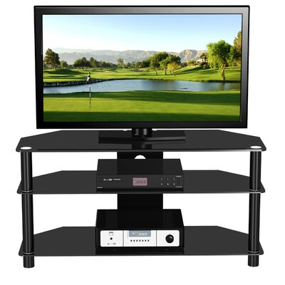 Cheap EXP Entertainment 47″ Flat Panel Plasma LCD HD TV Stand with Center Media Console in Glossy Black (EXQ1012)