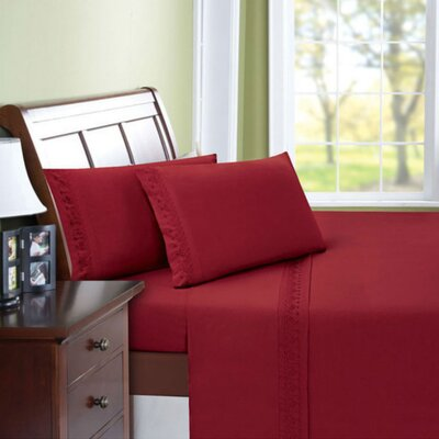 Scroll Microfiber Sheet Set Size: Full, Color: Burgundy