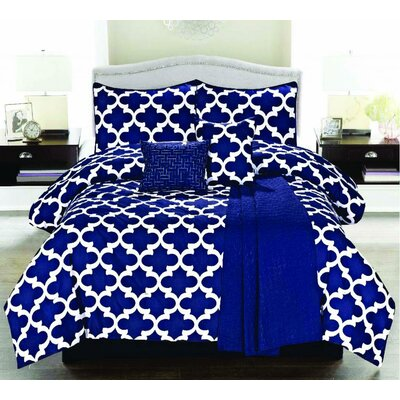 Luxury Home Cameron 6 Piece Comforter Set - Size: Full Color: Navy