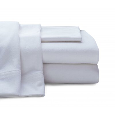 Jersey Knit Sheet Set Size: Full, Color: White