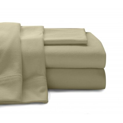 Jersey Knit Sheet Set Size: Queen, Color: Beige