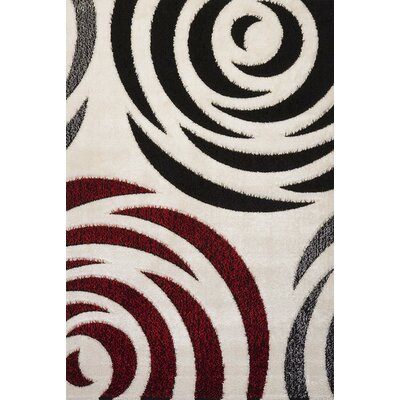 Signature Rose Black/Red Area Rug Rug Size: 6 x 8