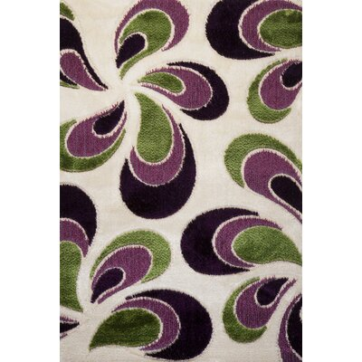 Signature Floral Green/Purple Area Rug Rug Size: 6 x 8