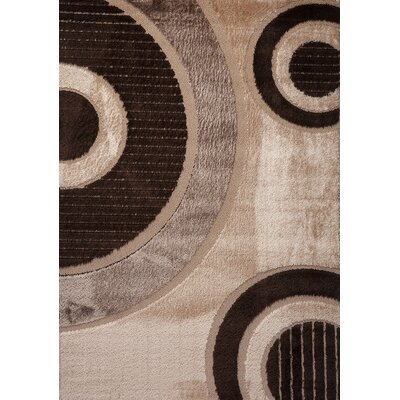 Contempo Circle Brown/Tan Area Rug Rug Size: Runner 3 x 8