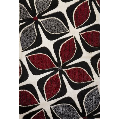 Signature Floral Red/Gray Area Rug Rug Size: 6 x 8